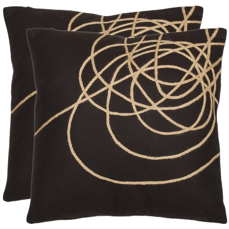 Safavieh Coiled Darter 2-Piece 18-in W x 18-in L Brown/Tan Indoor Decorative Pillow