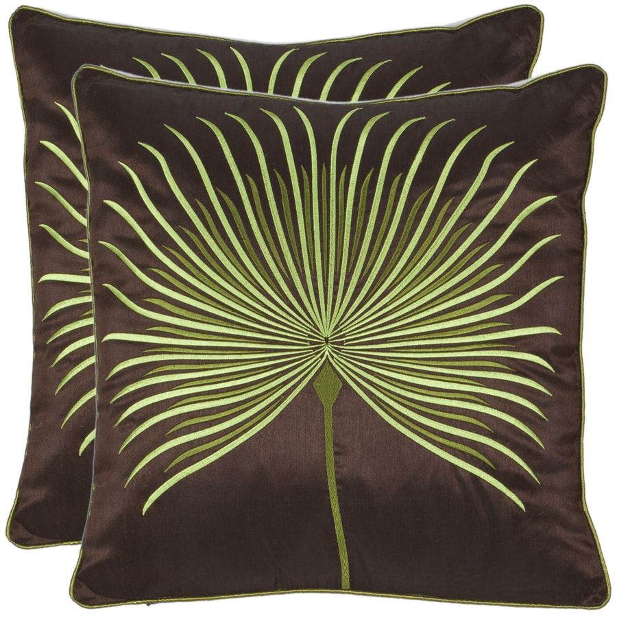 Safavieh 2-Piece 18-in W x 18-in L Brown/Green Square Indoor Decorative Complete Pillows