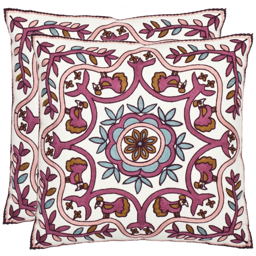 Safavieh 2-Piece 18-in W x 18-in L Pink Square Decorative Pillow
