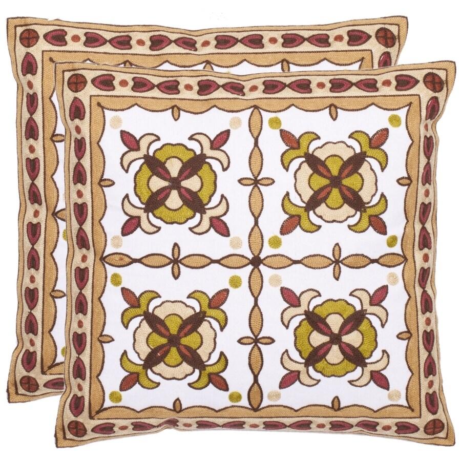 Safavieh Gorgon Tiles 2-Piece 18-in W x 18-in L Green/Beige Square Indoor Decorative Pillow