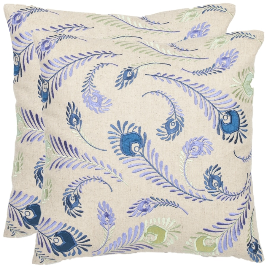 Safavieh Lucky Feathers 2-Piece 18-in W x 18-in L Blue/Creme Square Indoor Decorative Pillow
