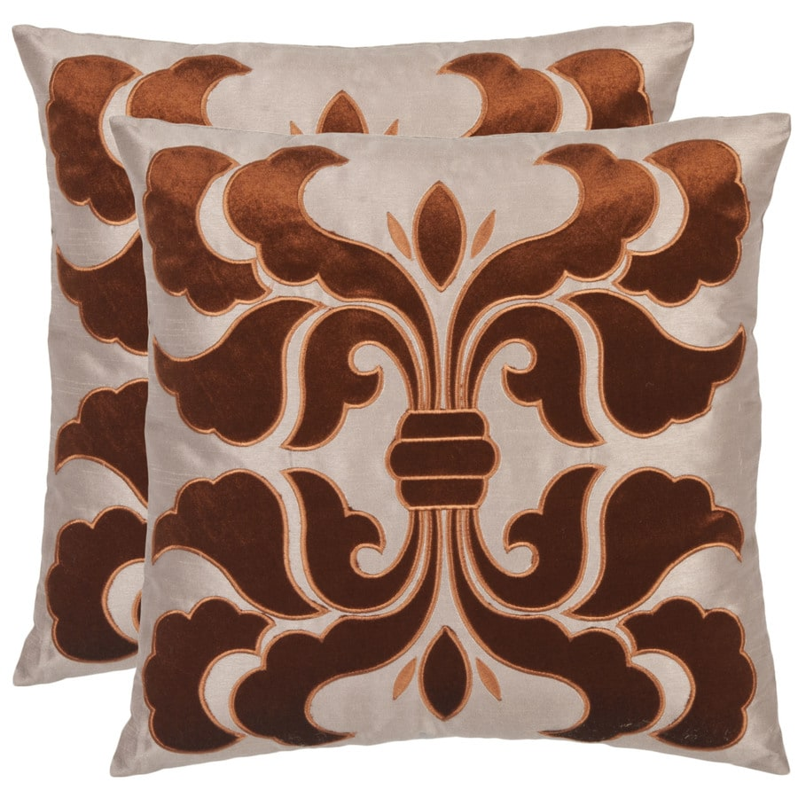 Safavieh Esmerelda 2-Piece 18-in W x 18-in L Brown/Beige Square Indoor Decorative Pillow