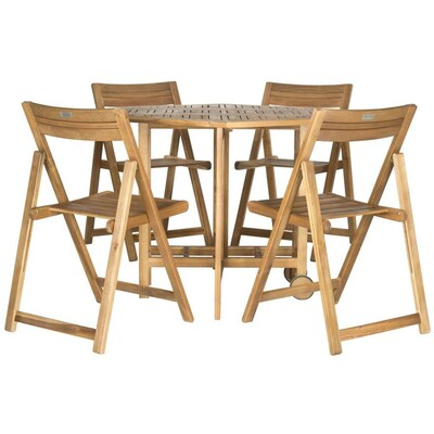Swell Safavieh Kerman 5 Piece Brown Wood Frame Patio Set With At Machost Co Dining Chair Design Ideas Machostcouk