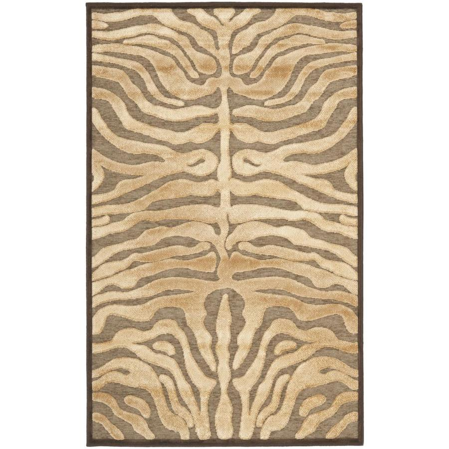 Safavieh Paradise Selas Mocha Rectangular Indoor Machine-made Animals Area Rug (Common: 4 x 6; Actual: 4-ft W x 5.583-ft L)