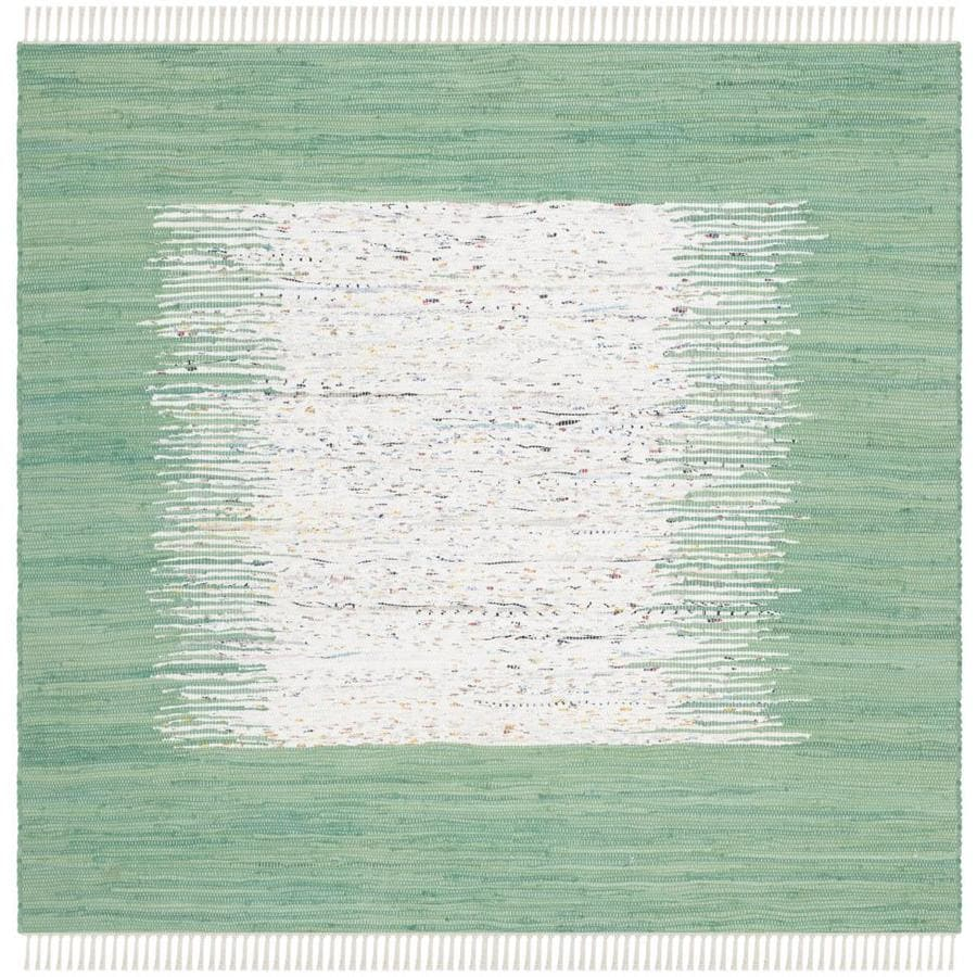 Safavieh Montauk Keeling 4 X 4 Ivory Sea Green Square Indoor Border Coastal Handcrafted Area Rug In The Rugs Department At Lowes Com