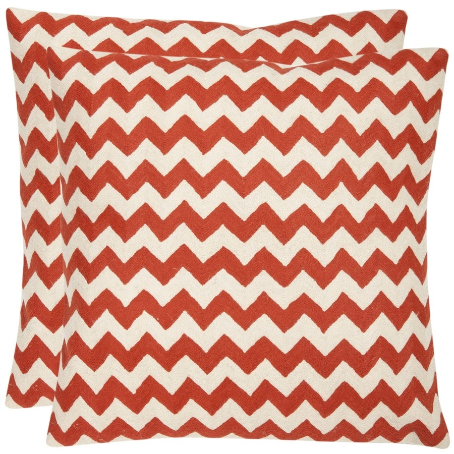 Safavieh Striped Tealea 2-Piece 18-in W x 18-in L Orange Sunburst Indoor Decorative Pillow