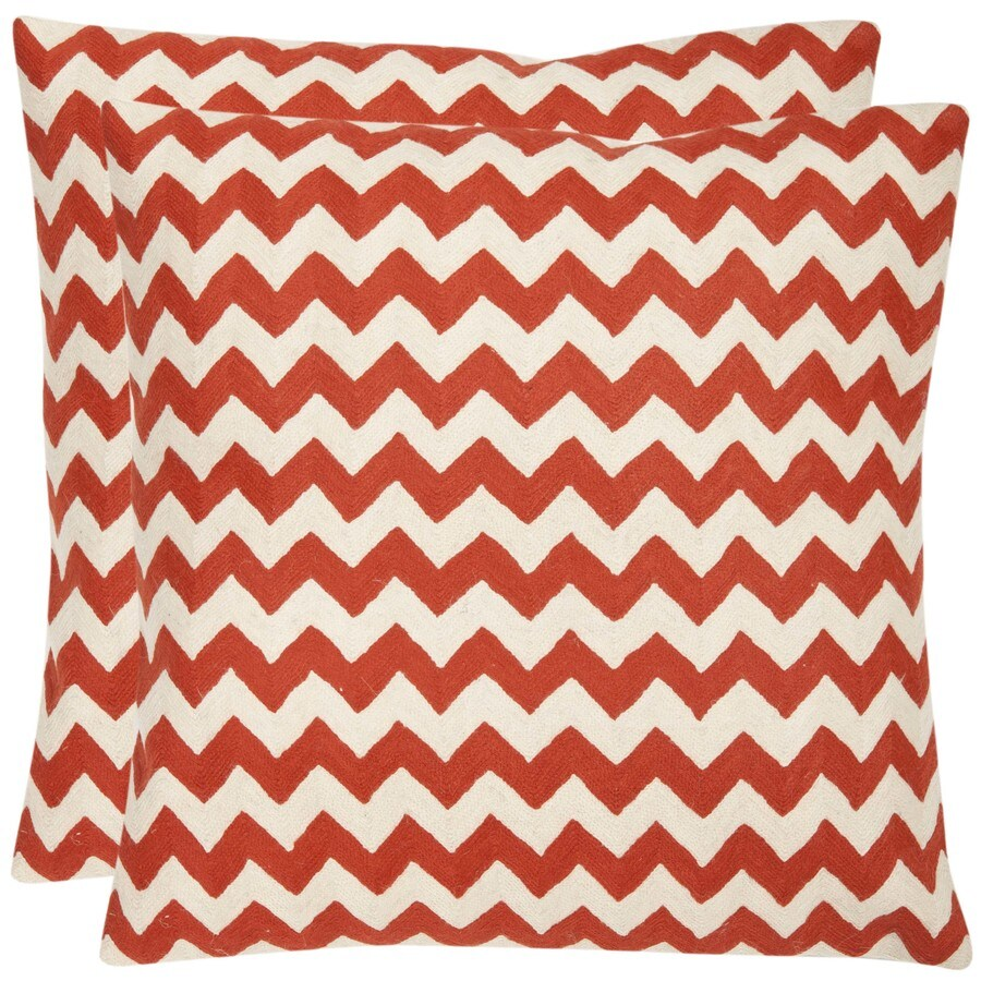Safavieh Striped Tealea 2-Piece 18-in W x 18-in L Orange Sunburst Square Indoor Decorative Pillow