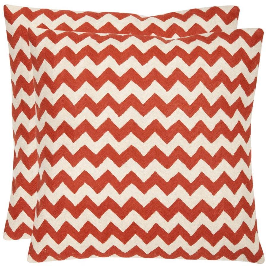 Safavieh Striped Tealea 2-Piece 22-in W x 22-in L Orange Sunburst Square Indoor Decorative Pillow