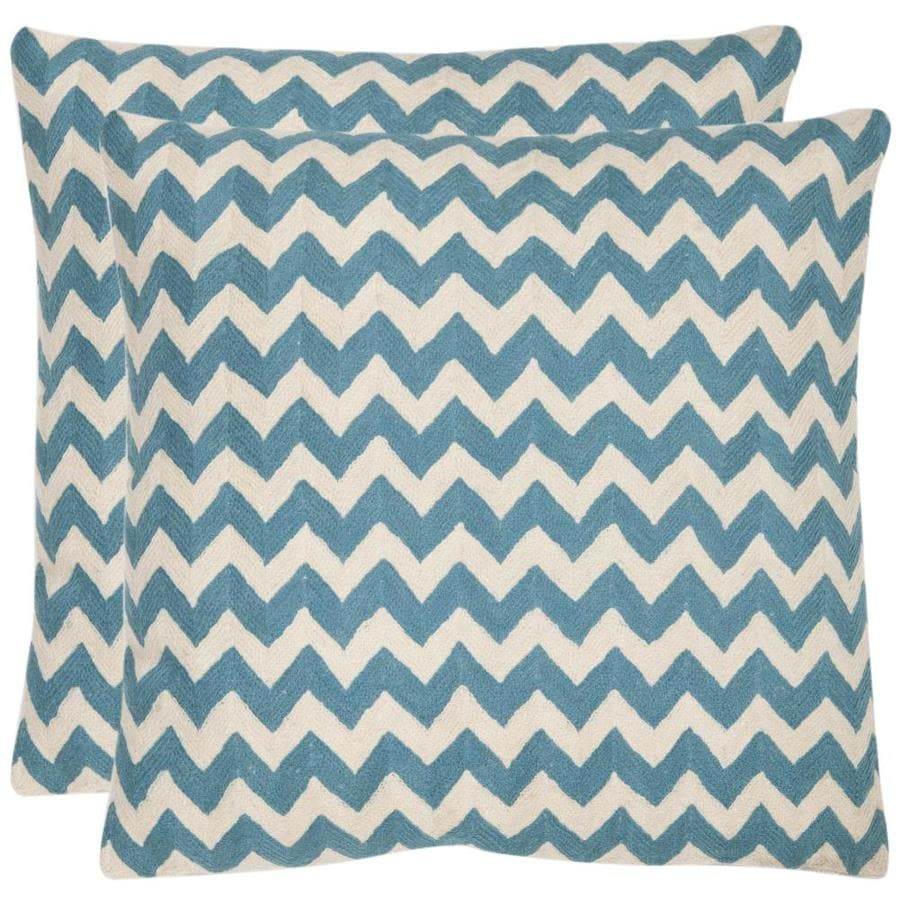 Safavieh Striped Tealea 2-Piece 18-in W x 18-in L Blue Rain Square Indoor Decorative Pillow