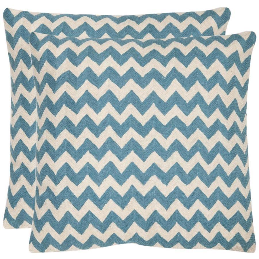 Safavieh Striped Tealea 2-Piece 22-in W x 22-in L Blue Rain Square Indoor Decorative Pillow