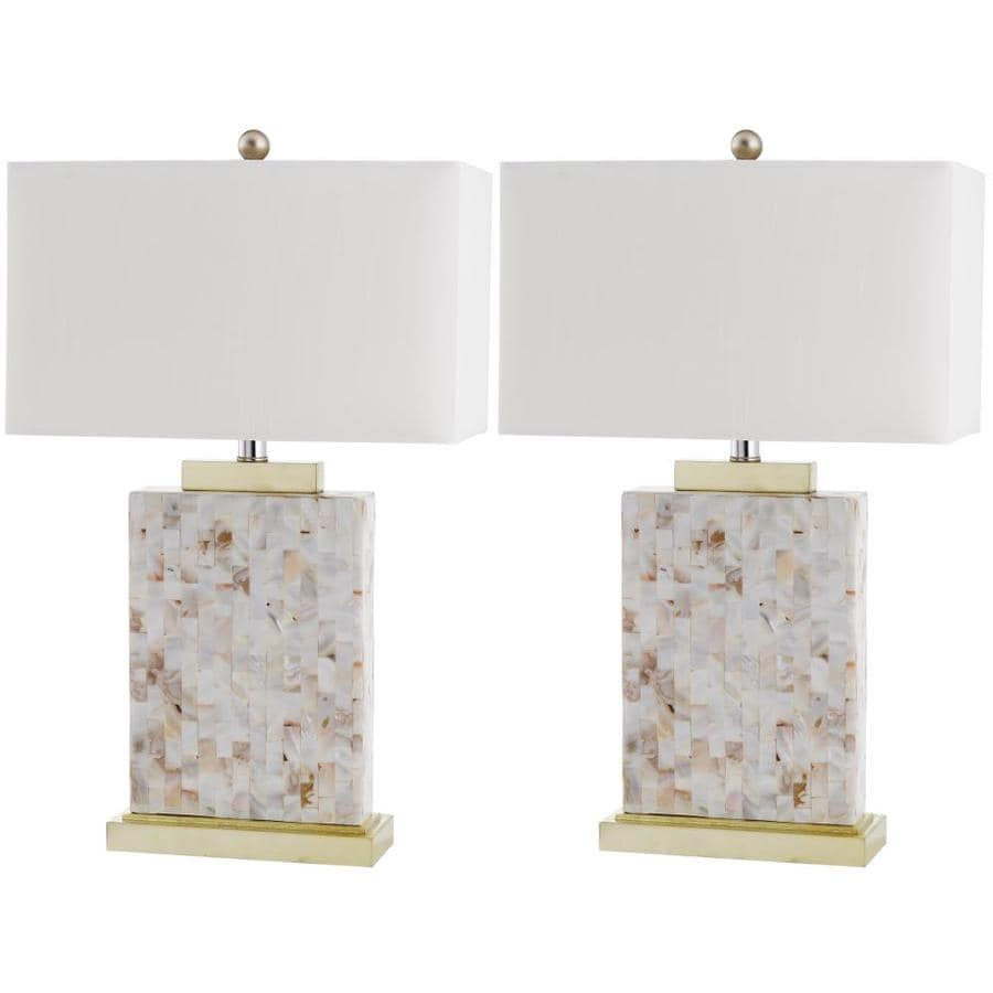 Safavieh Tory 25-in Cream Rotary Socket Table Lamp with Fabric Shade (Set of 2)