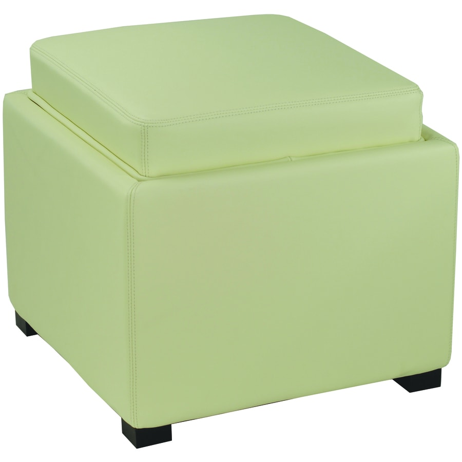 shop safavieh bobbi casual off white faux leather storage ottoman at. Black Bedroom Furniture Sets. Home Design Ideas