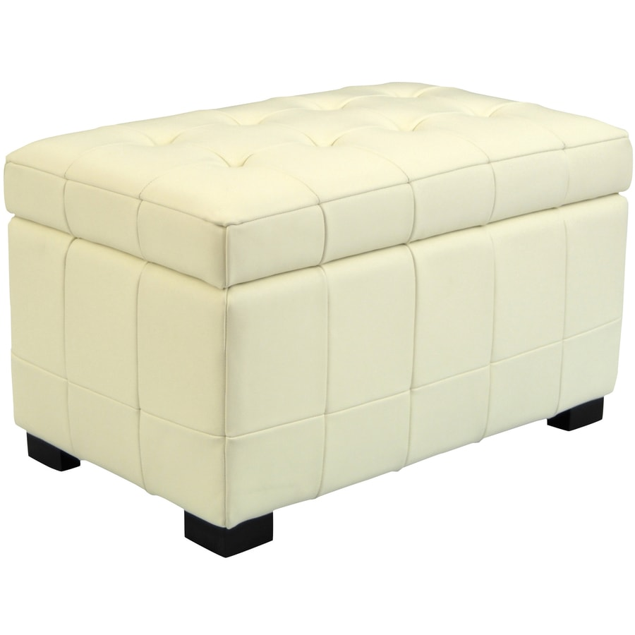 shop safavieh small manhattan casual off white faux leather storage ottoman at. Black Bedroom Furniture Sets. Home Design Ideas