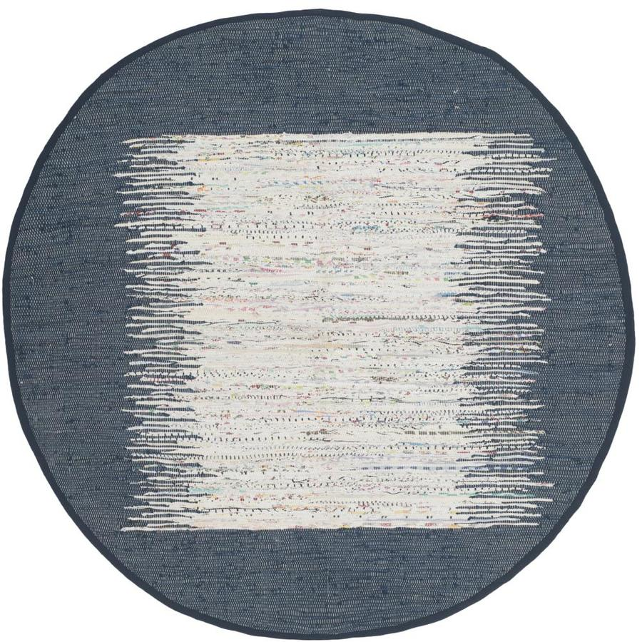 Safavieh Montauk Keeling Ivory/Navy Round Indoor Handcrafted Coastal Area Rug (Common: 4 x 4; Actual: 4-ft W x 4-ft L x 4-ft dia)