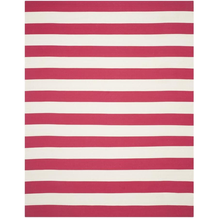 Safavieh Montauk Maslin Red/Ivory Rectangular Indoor Handcrafted Coastal Area Rug (Common: 6 x 9; Actual: 6-ft W x 9-ft L)