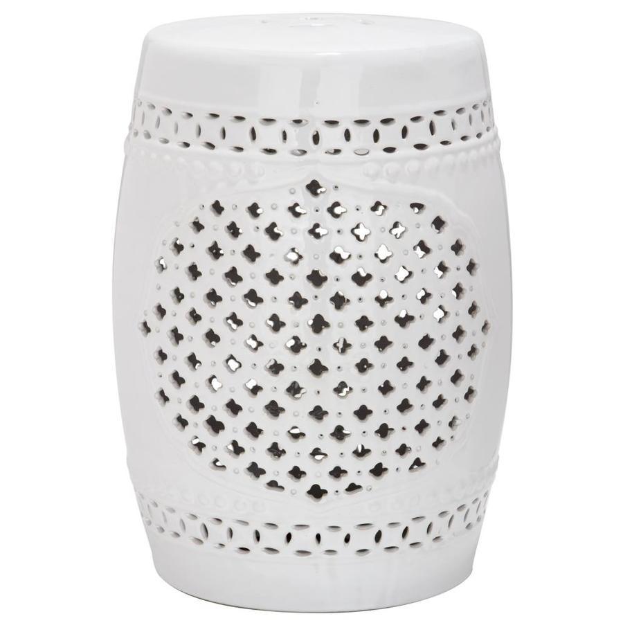 Safavieh 18-in White Ceramic Barrel Garden Stool