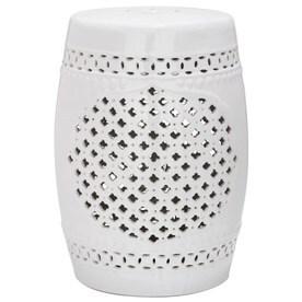 Safavieh 18 In White Ceramic Barrel Garden Stool