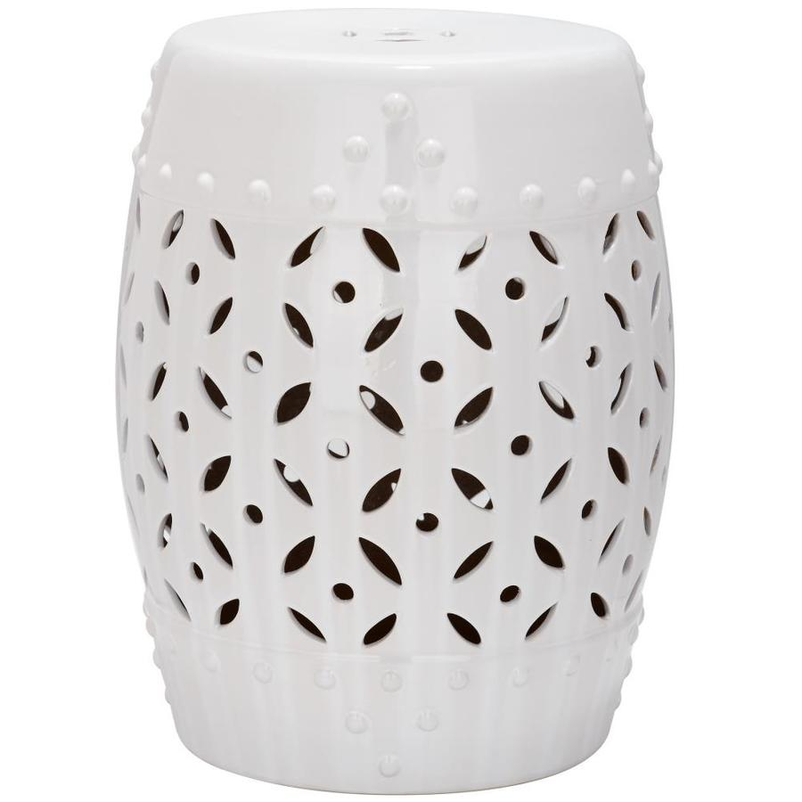 Safavieh 18.5 In White Ceramic Barrel Garden Stool