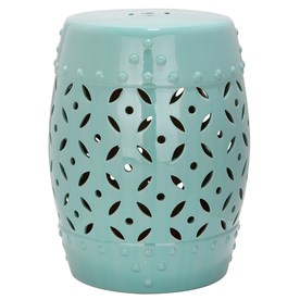 Superbe Safavieh 18.5 In Robins Egg Blue Ceramic Barrel Garden Stool