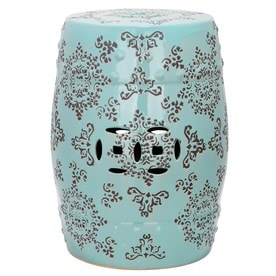 Safavieh 18.5 In Robins Egg Blue Ceramic Barrel Garden Stool