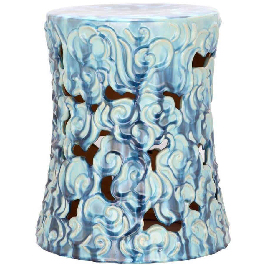 Safavieh 17.75-in Blue Ceramic Barrel Garden Stool