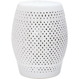 Great Safavieh 18.5 In White Ceramic Barrel Garden Stool