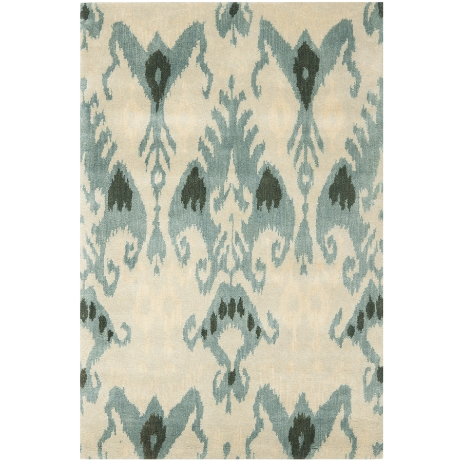 Safavieh Ikat Beige and Slate Rectangular Indoor Tufted Area Rug (Common: 4 x 6; Actual: 48-in W x 72-in L x 0.5-ft Dia)