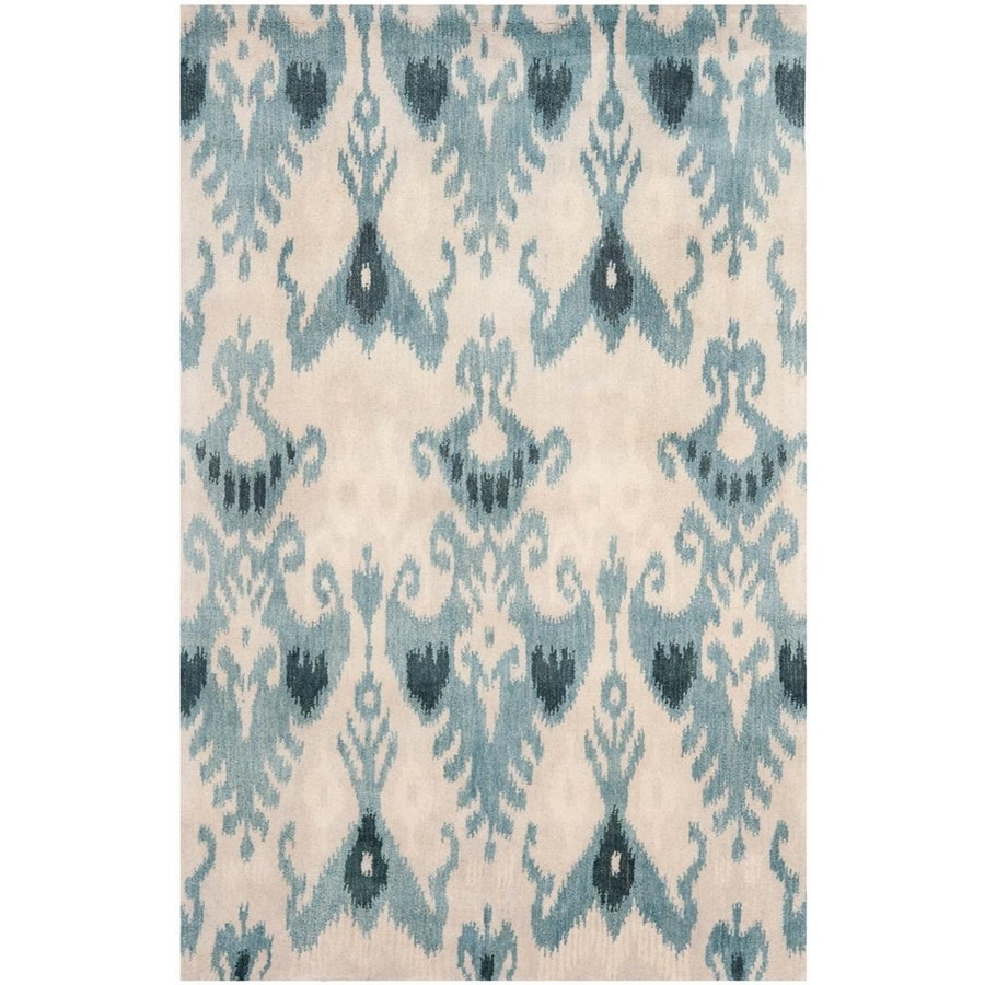 Safavieh Ikat Beige/Slate Rectangular Indoor Handcrafted Southwestern Area Rug (Common: 5 x 7; Actual: 5-ft W x 8-ft L x 0-ft Dia)