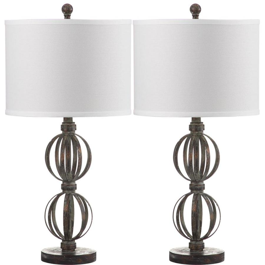 Safavieh Calista 2-Piece Rustic Lamp Set with Off-White Shades