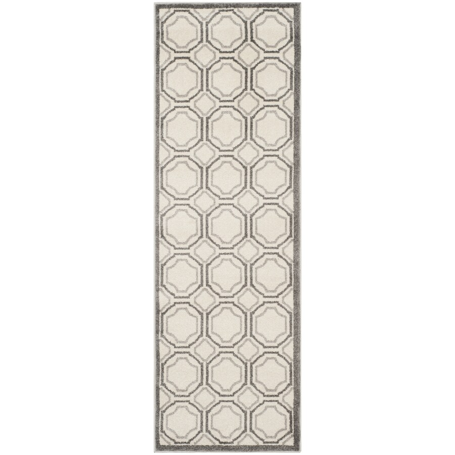 Safavieh Amherst Ivory/Light Gray Rectangular Indoor/Outdoor Machine-Made Moroccan Runner (Common: 2 x 7; Actual: 2.25-ft W x 7-ft L)