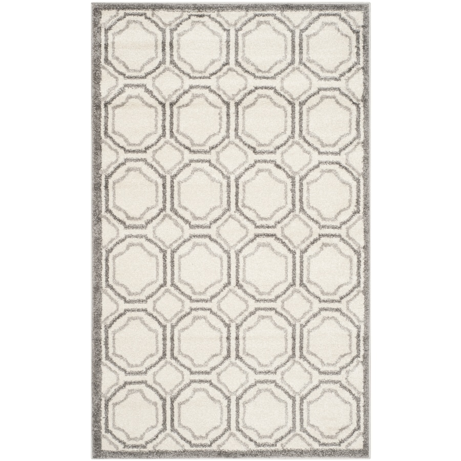 Safavieh Amherst Mosaic Ivory/Light Gray Indoor/Outdoor Moroccan Throw Rug (Common: 3 x 5; Actual: 3-ft W x 5-ft L)