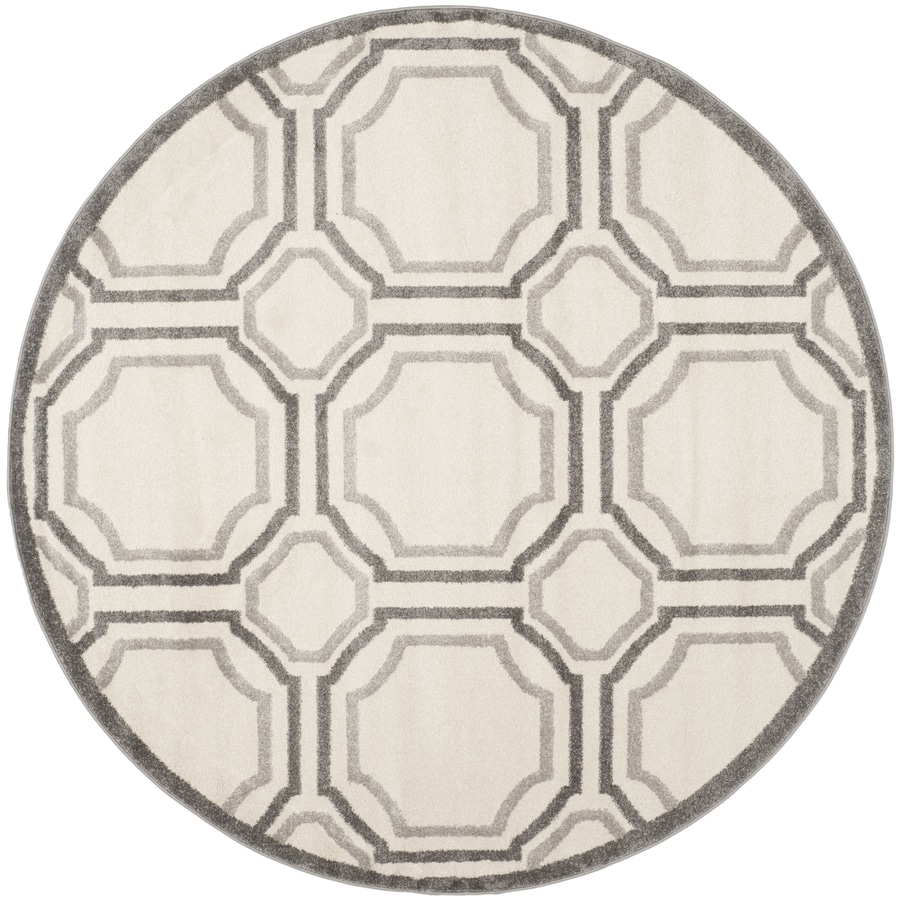 Safavieh Amherst Ivory/Light Grey Round Indoor/Outdoor Machine-Made Area Rug (Common: 7 x 7; Actual: 7-ft dia)