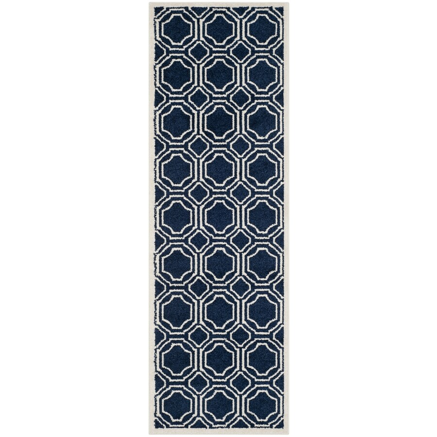 Safavieh Amherst Navy/Ivory Rectangular Indoor/Outdoor Machine-Made Runner