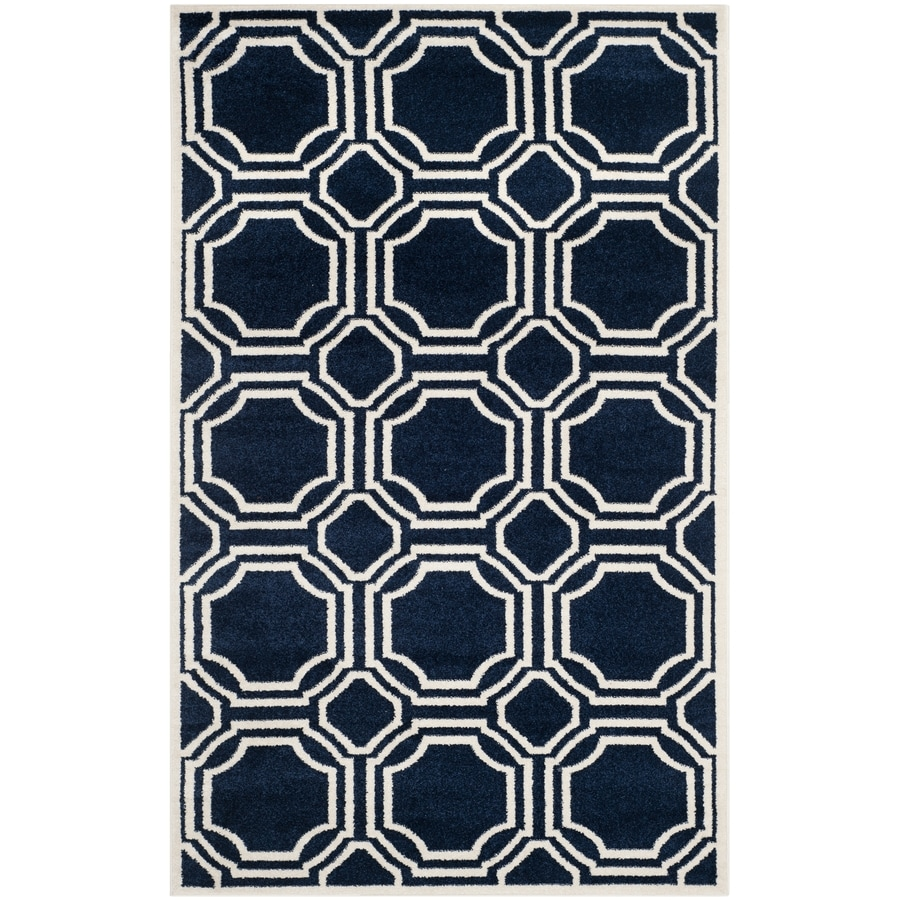Safavieh Amherst Navy/Ivory Rectangular Indoor/Outdoor Machine-Made Moroccan Area Rug (Common: 4 x 6; Actual: 4-ft W x 6-ft L)