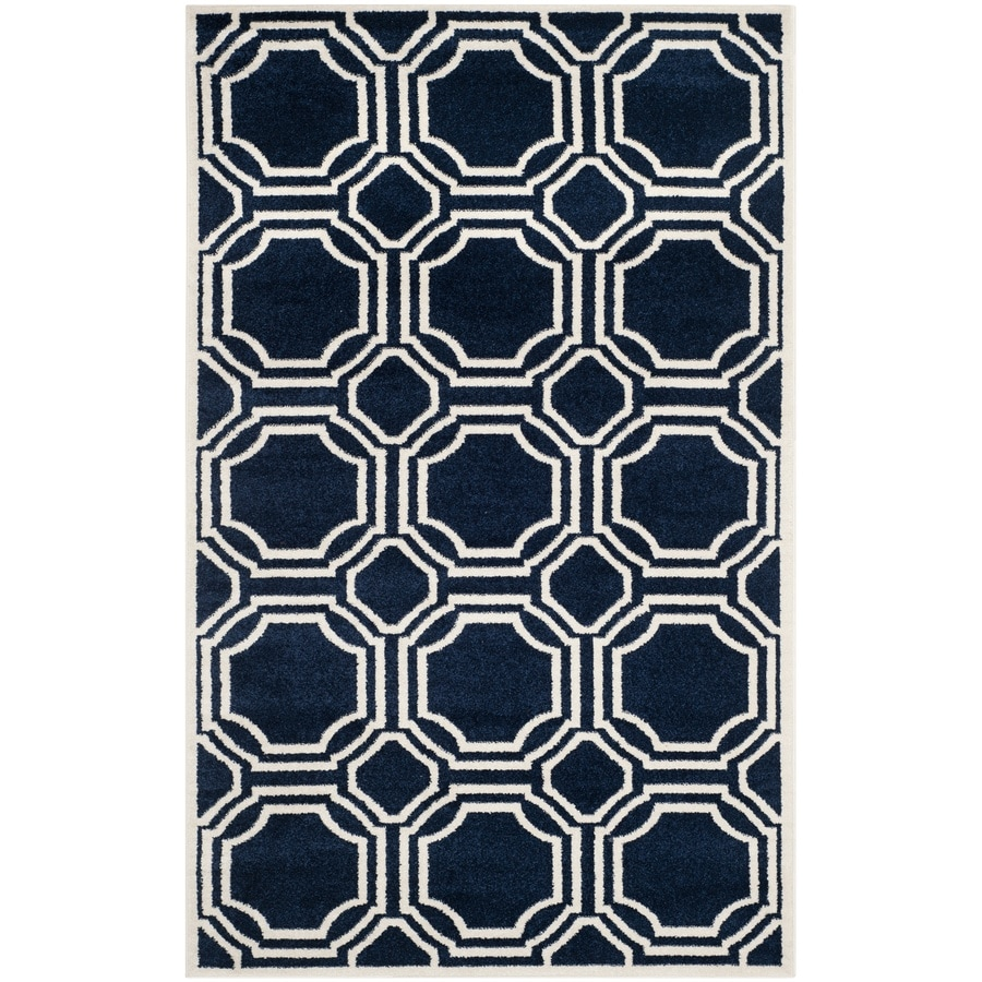 Safavieh Amherst Navy/Ivory Rectangular Indoor/Outdoor Machine-Made Moroccan Area Rug (Common: 5 x 7; Actual: 5-ft W x 8-ft L x 0-ft Dia)