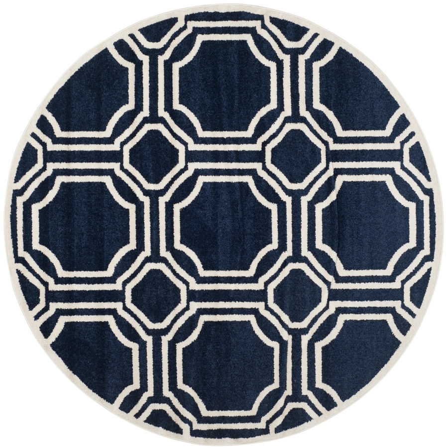 Safavieh Amherst Mosaic Navy/Ivory Round Indoor/Outdoor Machine-Made Moroccan Area Rug (Common: 7 x 7; Actual: 7-ft W x 7-ft L x 7-ft Dia)