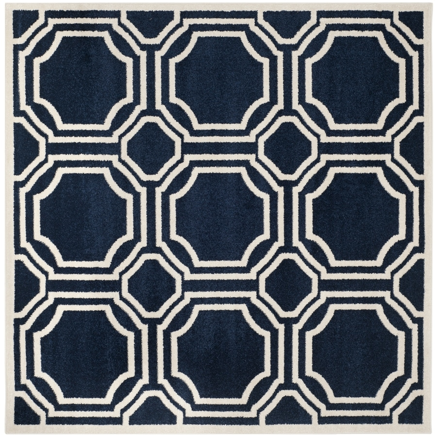 Safavieh Amherst Mosaic Navy/Ivory Square Indoor/Outdoor Machine-Made Moroccan Area Rug (Common: 7 x 7; Actual: 7-ft W x 7-ft L)