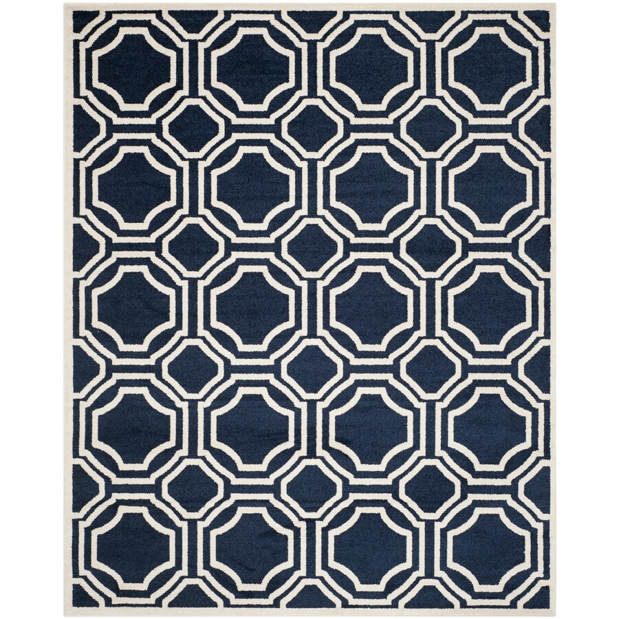 Safavieh Amherst Navy/Ivory Rectangular Indoor/Outdoor Machine-Made Moroccan Area Rug (Common: 9 x 12; Actual: 9-ft W x 12-ft L)