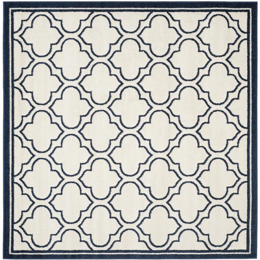 Indoor Outdoor Rugs Square: Safavieh Moroccan Ivory/Navy Square Indoor/Outdoor Area