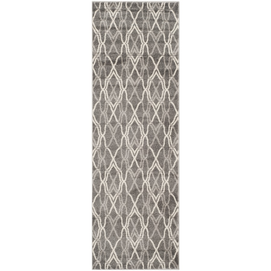 Safavieh Amherst Gray/Light Gray Rectangular Indoor/Outdoor Machine-Made Moroccan Runner (Common: 2 x 7; Actual: 2.25-ft W x 7-ft L)