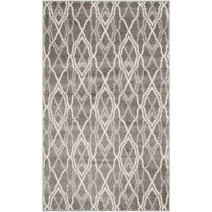 Safavieh Amherst Cedarhurst Gray/Light Gray Indoor/Outdoor Moroccan Throw Rug (Common: 3 x 5; Actual: 3-ft W x 5-ft L)