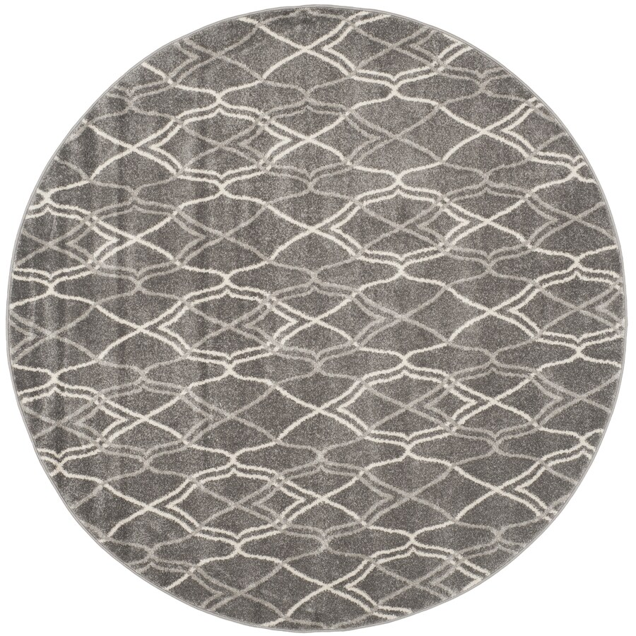 Safavieh Amherst Gray/Light Gray Round Indoor/Outdoor Machine-Made Moroccan Area Rug (Common: 7 x 7; Actual: 7-ft W x 7-ft L x 7-ft Dia)