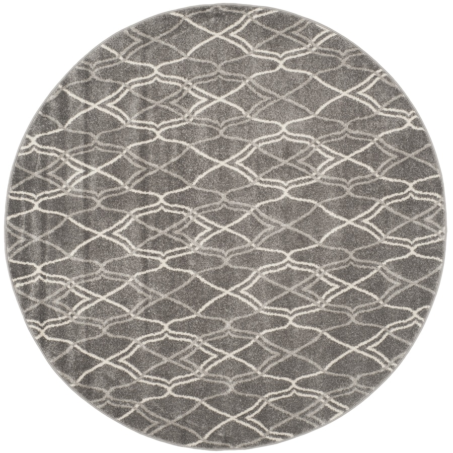 Safavieh Amherst Cedarhurst Gray/Light Gray Round Indoor/Outdoor Moroccan Area Rug (Common: 7 x 7; Actual: 7-ft W x 7-ft L x 7-ft dia)