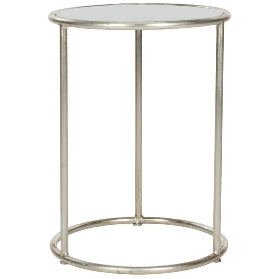 Shop safavieh shay silver gray glass top end table at for Glass end tables