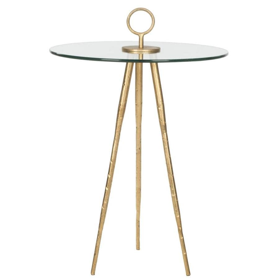 Safavieh Fox Gold/Clear Glass Top Round End Table