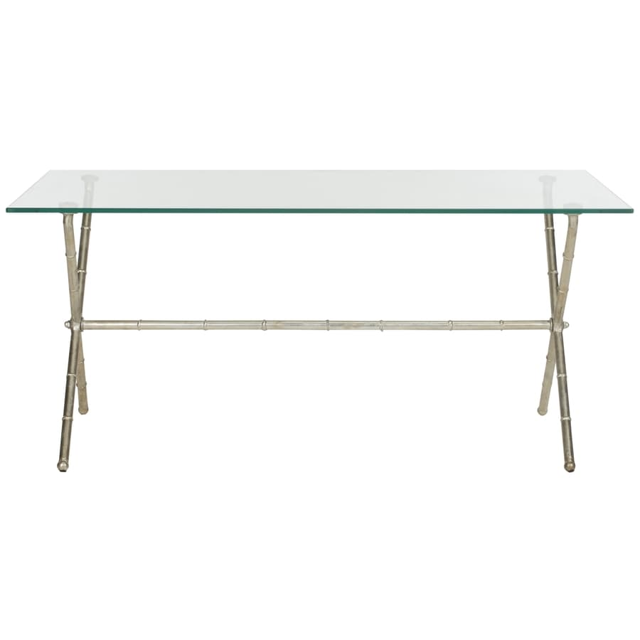 Shop safavieh brogen silver clear glass top end table at for Glass end tables