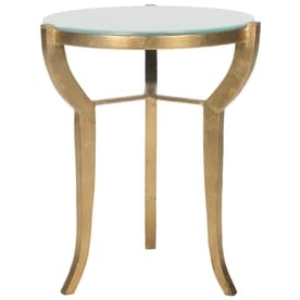 811976c967feb Safavieh Ormond Gold White Glass Glam End Table