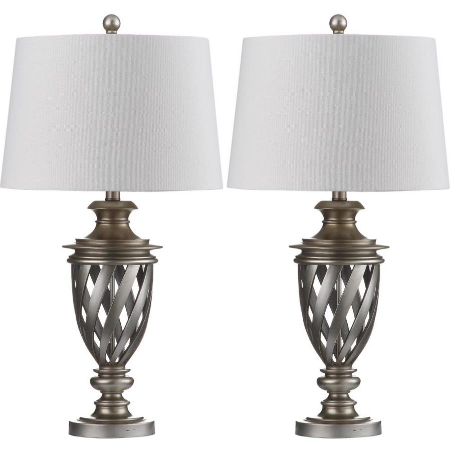 Safavieh Byron 29-in Antique Silver Rotary Socket Table Lamp with Fabric Shade (Set of 2)