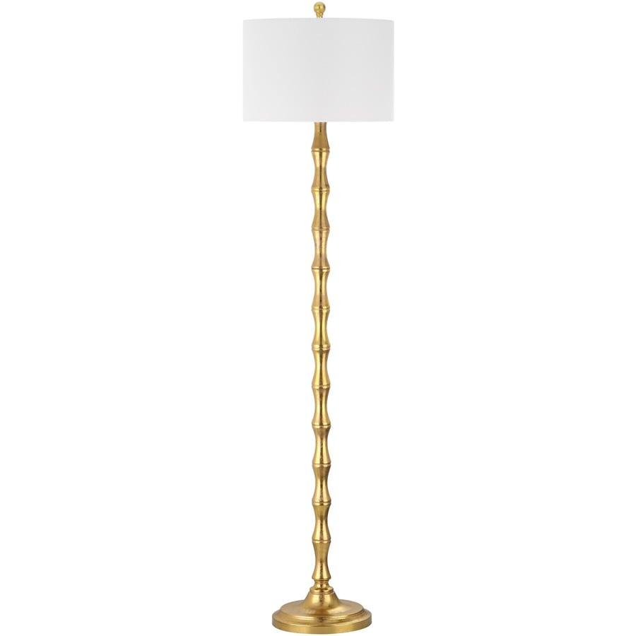 Safavieh Aurelia 63.5-in Antique Gold Rotary Socket Floor Lamp with Fabric Shade