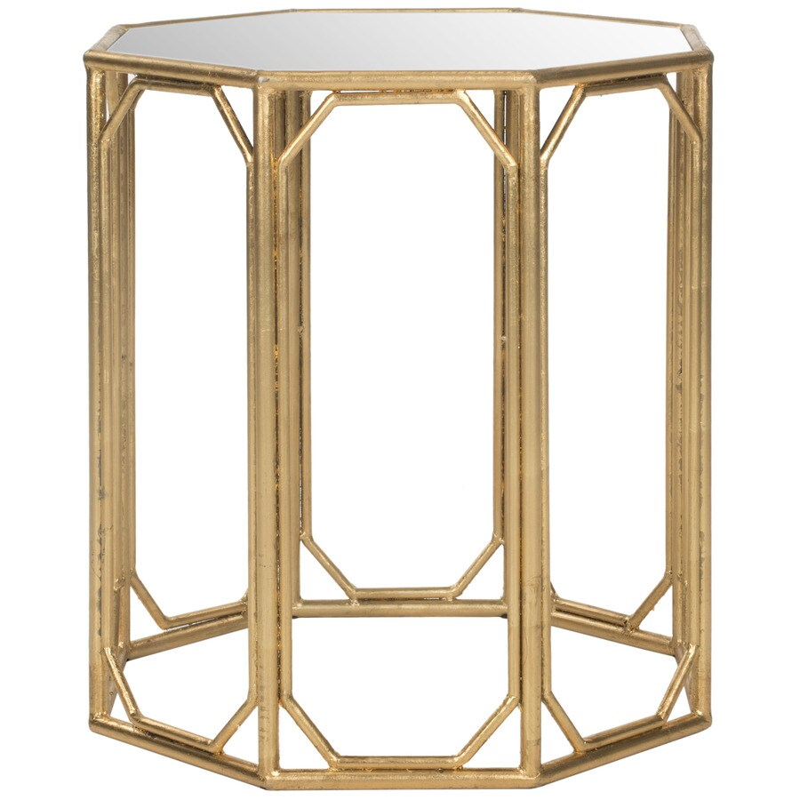 Safavieh Muriel Gold/Mirror Top Glass Modern End Table At